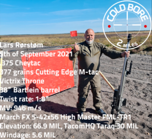 Lars Rørstrøm made 4 hits at 2 miles (3.21869km) at the Cold Bore Range in Denmark with March 5-42×56 Scope!